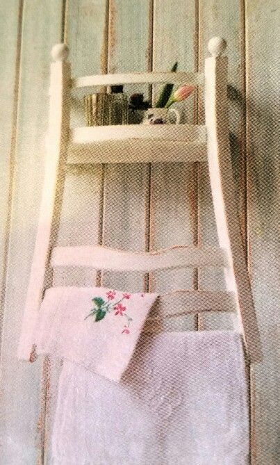 Upside Down Chair As Shelf And Hanging Rail