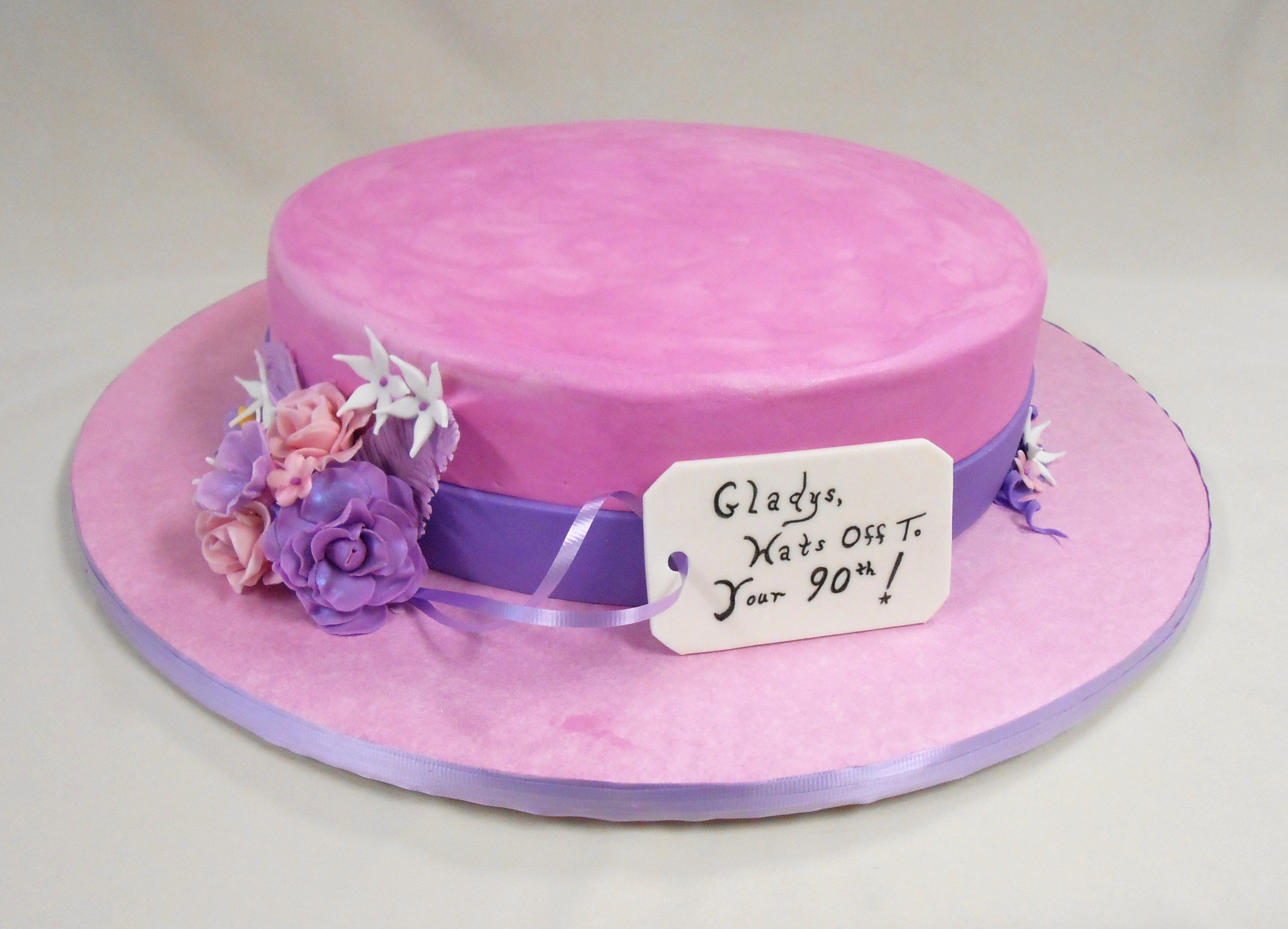 Custom Milliners Hat Cake With Fondant And Royal Icing Detailing Happy 90th Birthday Gladys