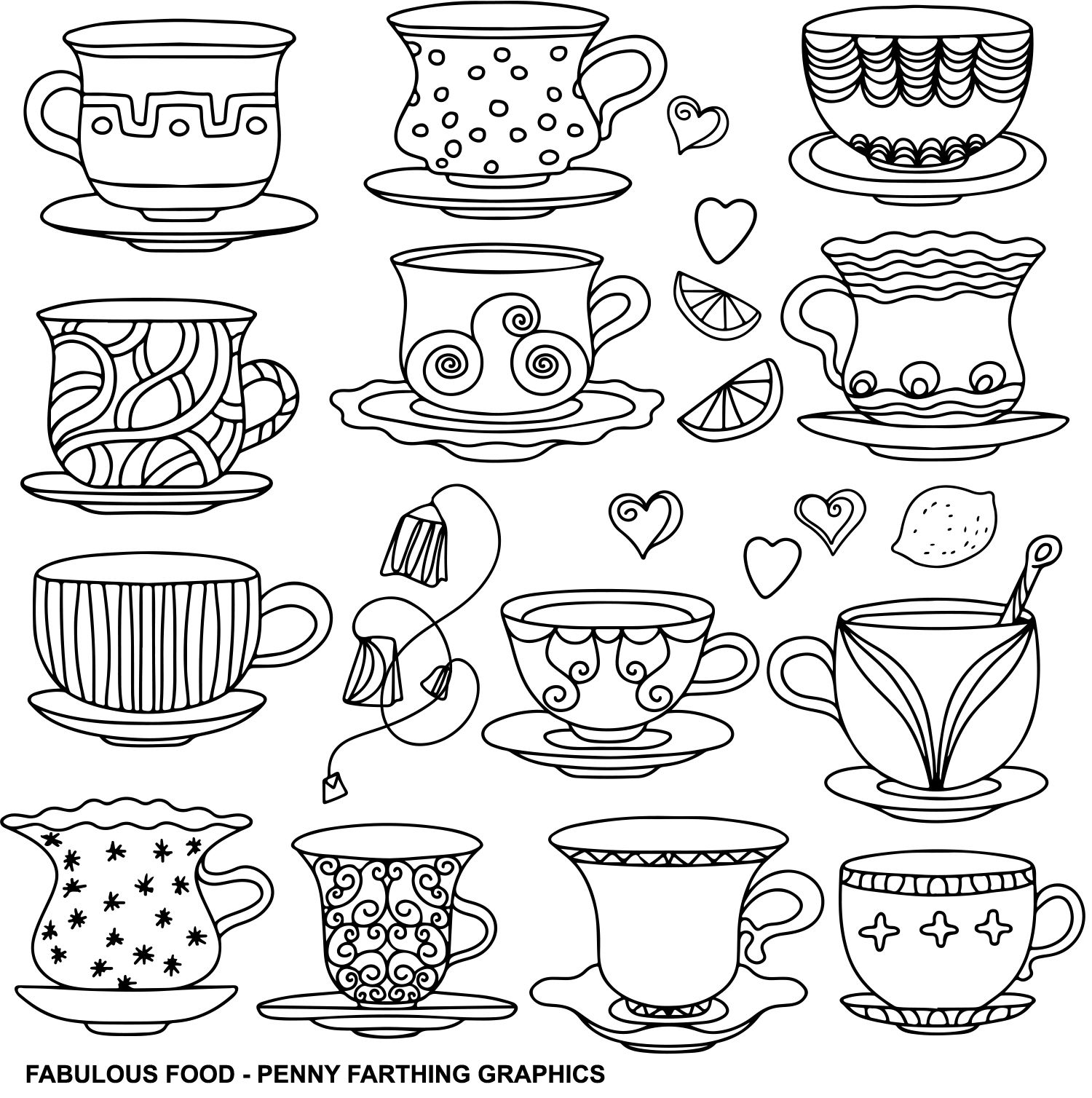 """cups from """"fabulous food""""  tea cup drawing coloring"""
