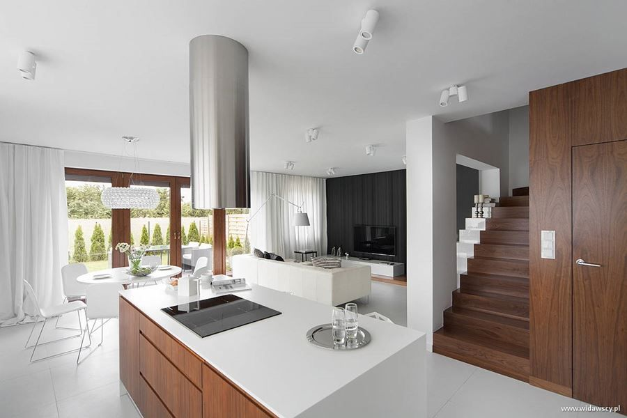 Nowoczesna Kuchnia Z Salonem W Bieli Widawscy Studio Architektury Homesquare Small House Interior Design Modern Home Interior Design Modern Houses Interior