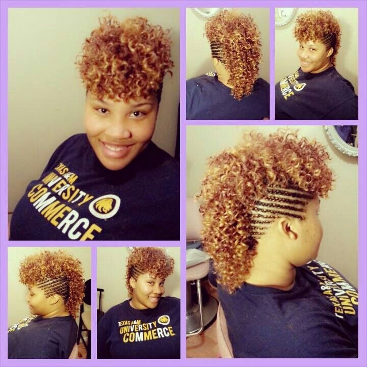 Braided Mohawk With Sew In Natural Hair Styles Curly Mohawk Braided Mohawk Hairstyles