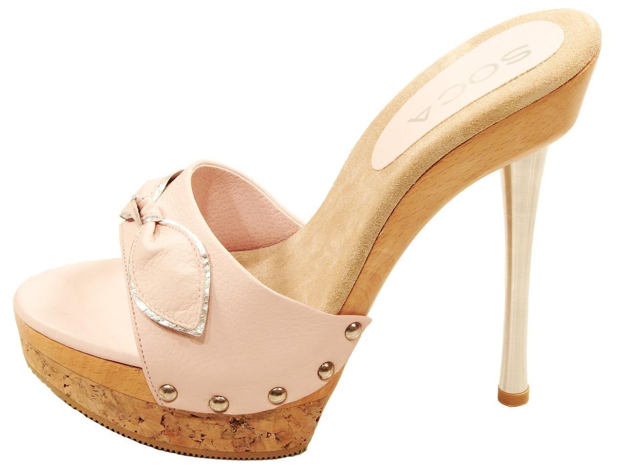 47026afffcd9 Womens soca elsa high heel wood cork platform slides sandals blue ...