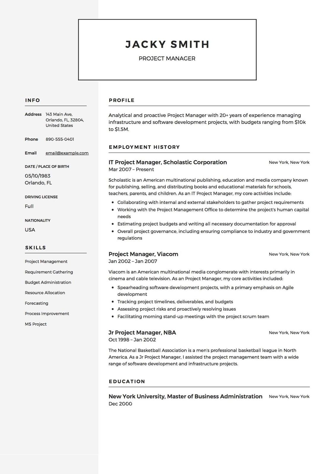Project Manager Resume Templates 2019 2020