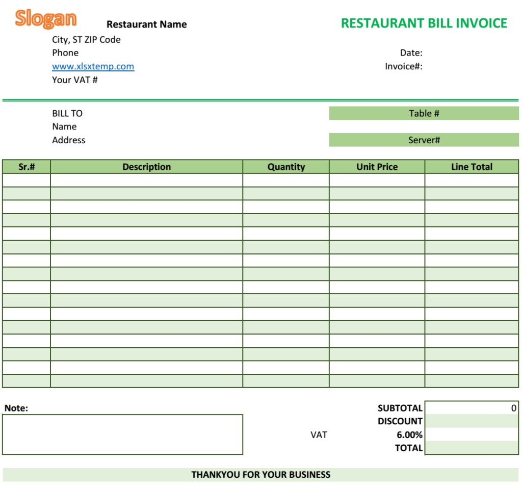 Restaurant Bill Invoice Template  Excel Business Invoices
