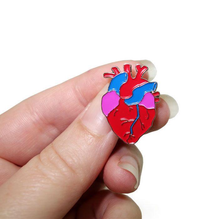 Anatomical heart enamel pin badge   Anatomical heart and Badges