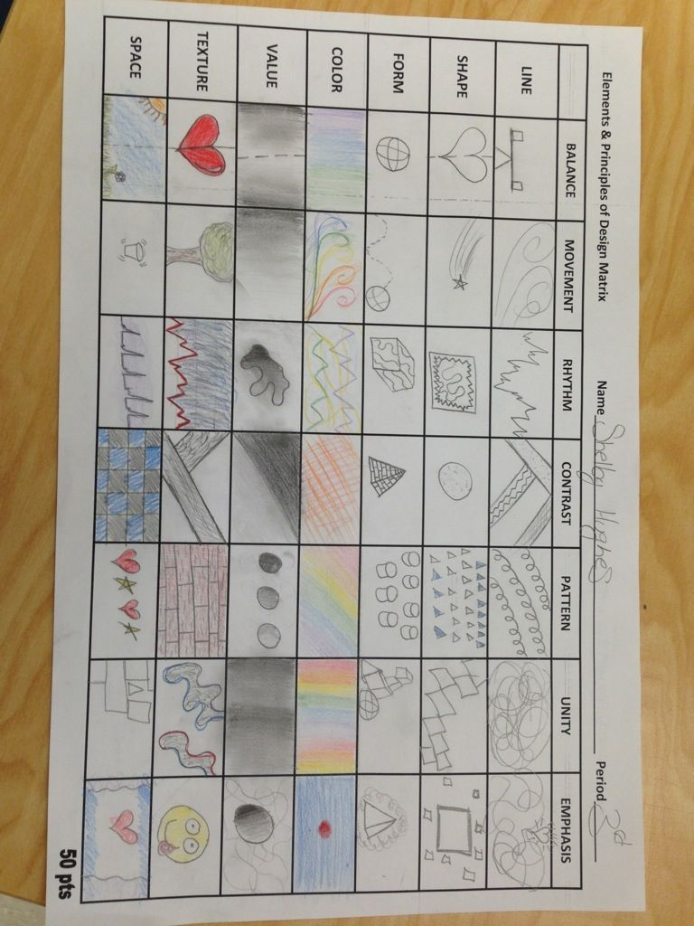 Worksheets Elements And Principles Of Art Worksheet design matrix watercolor projects student studying and initials art lessons