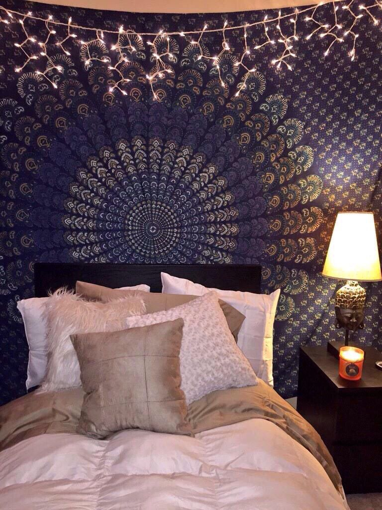 bedroom tapestry. Mandala tapestry  dark blue boho bedroom A
