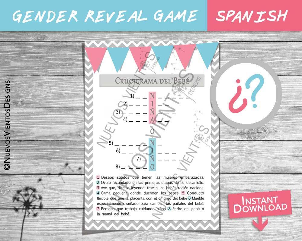 Gender Reveal SPANISH / Crossword Puzzle SPANISH / Girl Or Boy / Baby Shower  / Gender