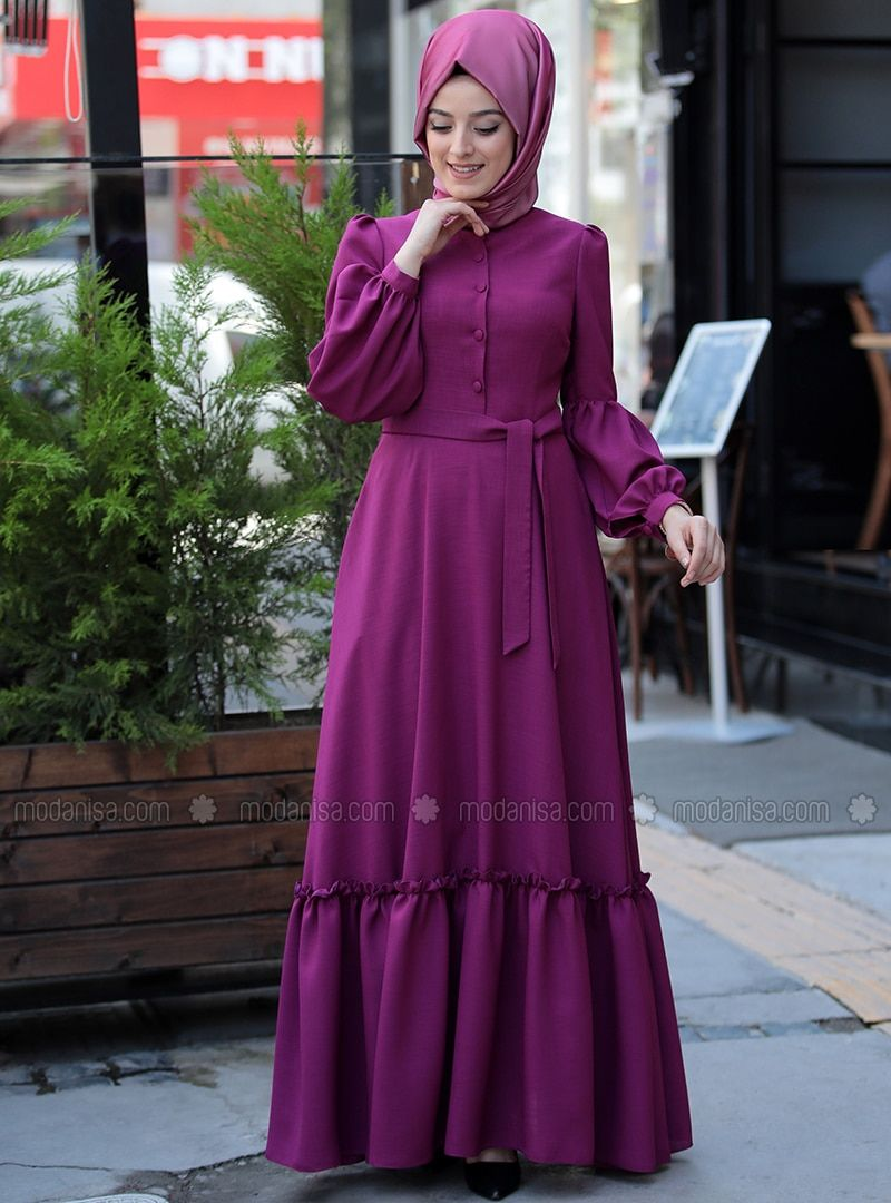 c1a8ea7597acb Fuchsia - Fully Lined - Crew neck - Muslim Evening Dress in 2019 ...