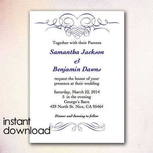 DIY Wedding Invitation Template Instant Download By CheapoBride   Birthday  Invitation Templates Free Word  Birthday Invitation Templates Word