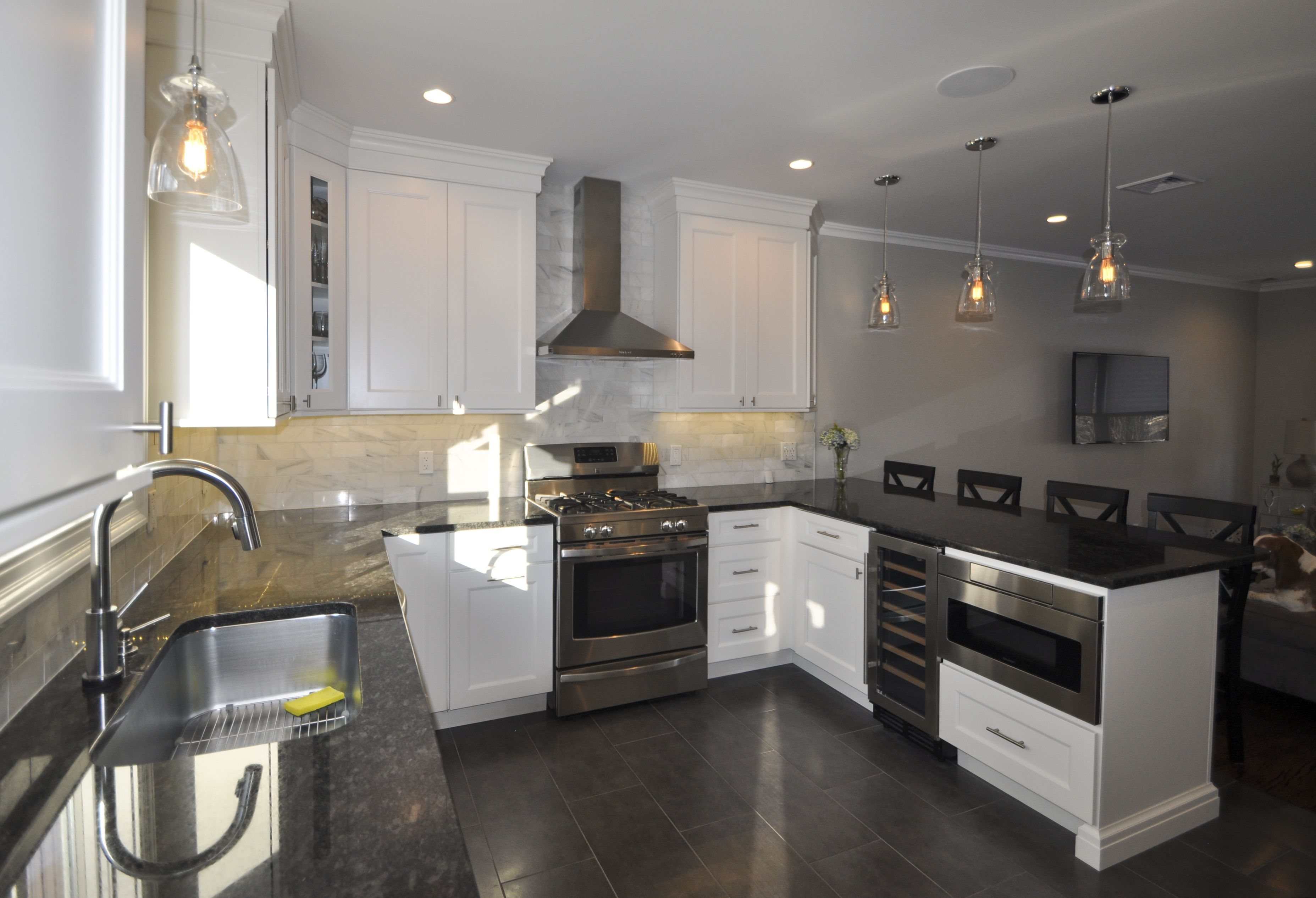 White Shaker Cabinets Wine Fridge And Draw Microwave Kitchen Center Island Island With Seating Kitchen Construction