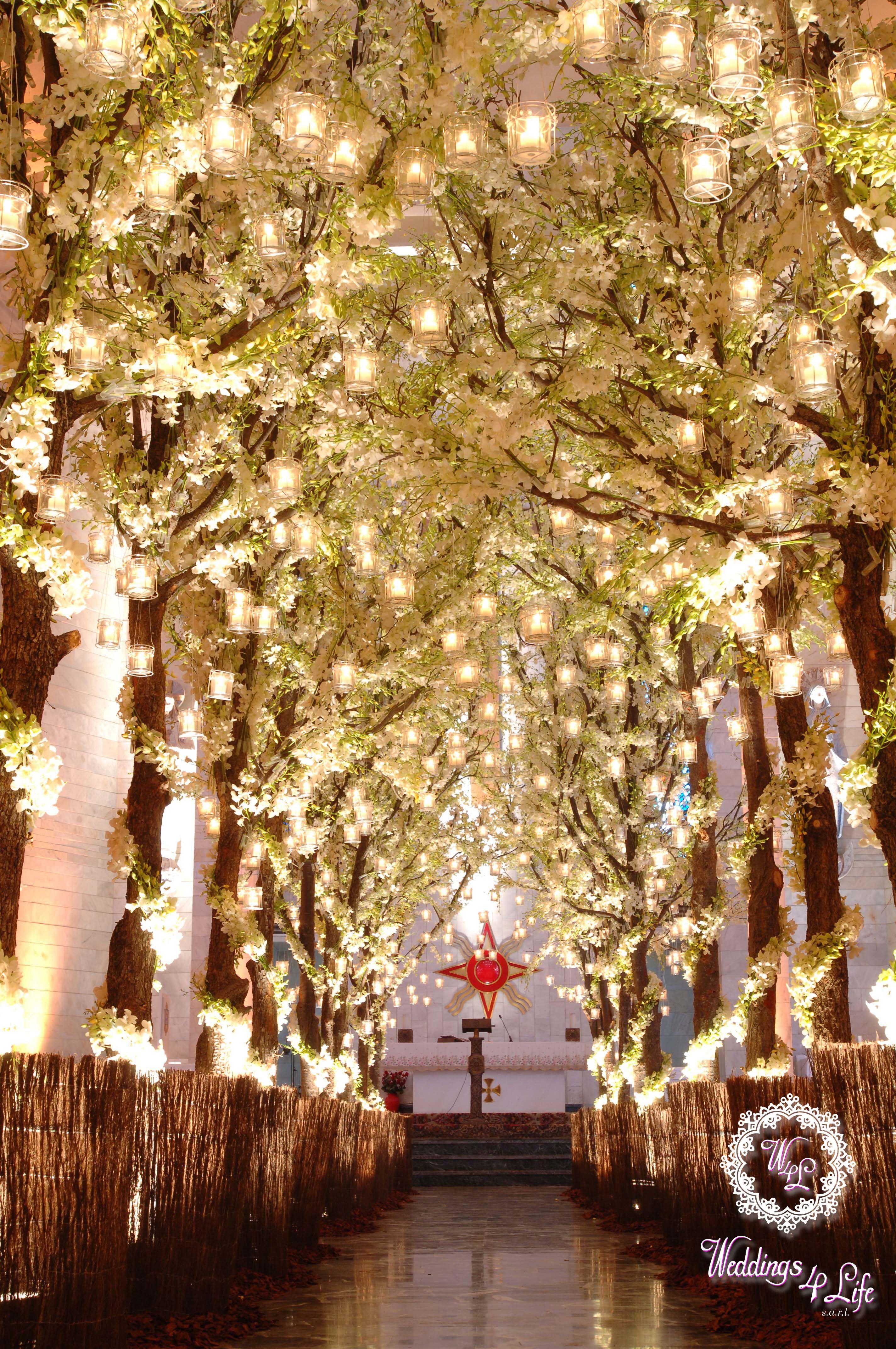 Breathtaking church decoration white trees with candles michael white trees with candles white trees candles weddings lebanon junglespirit Image collections