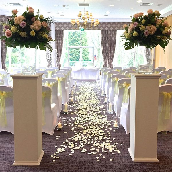 Wedding Decoration Ideas Uk: Ivory Pedestal Plinths For Ceremony. Available To Hire For