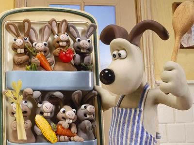 Gromit and a fridge full of bunnies in Wallace & Gromit - The Curse ...