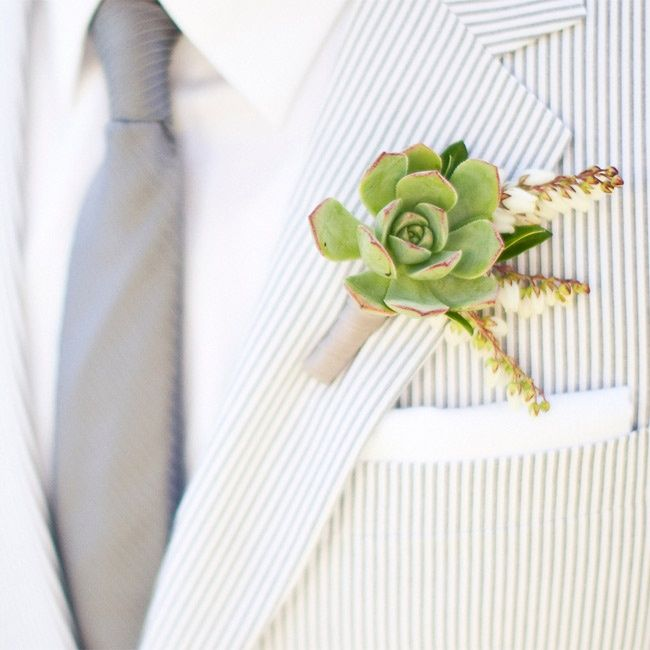 Succulent boutonniere // Gabriel Ryan Photographers // Boutonniere: JL Designs // http://www.theknot.com/weddings/album/a-bright-modern-wedding-in-pacific-palisades-ca-111782