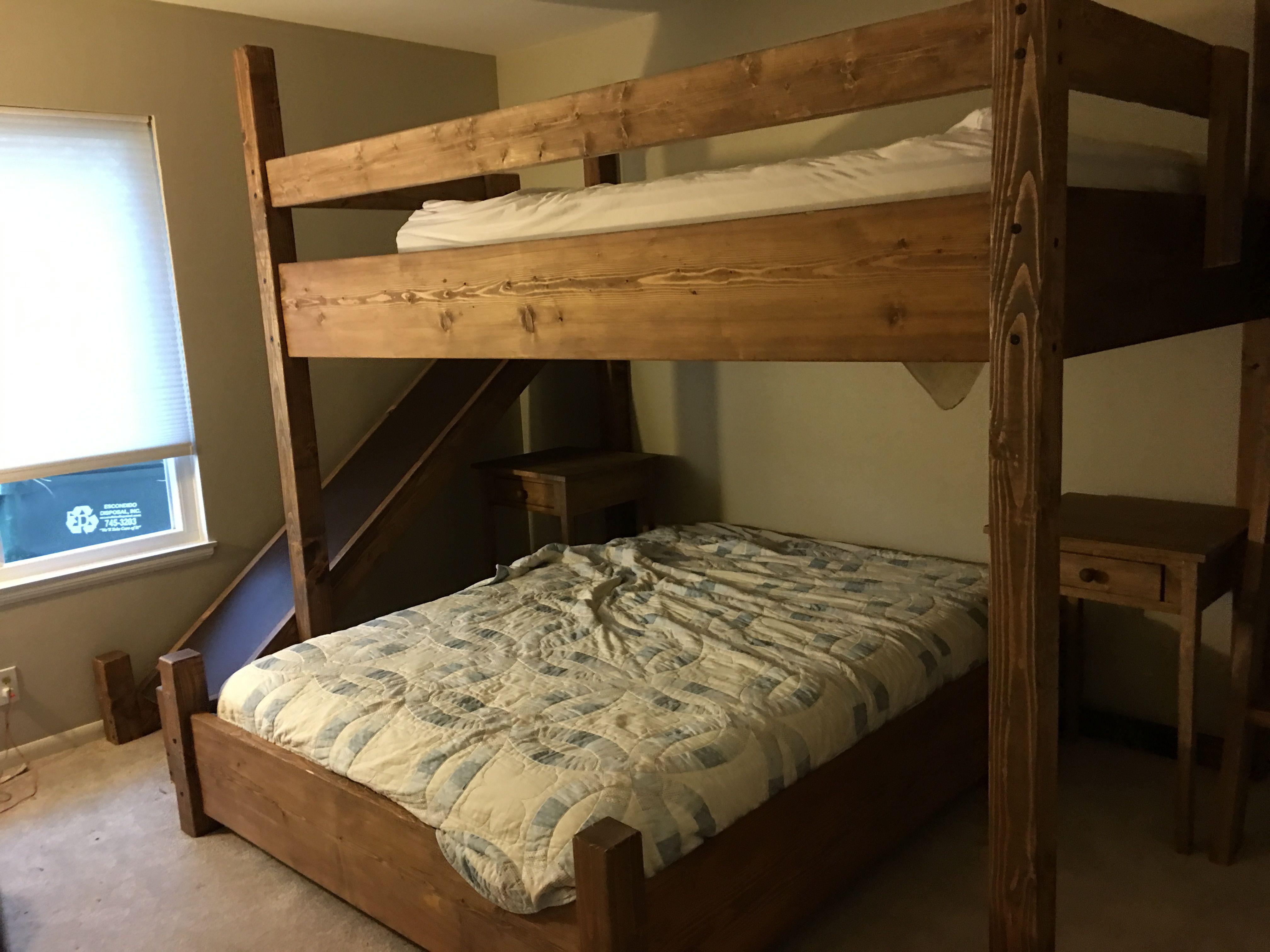 Queen loft bed with stairs  Queen over queen bunk with slide  Bunk Beds  Pinterest  Bunk bed