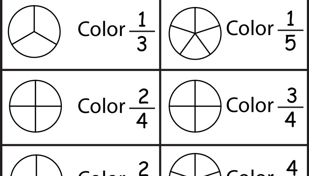 Color the Fraction - 4 Worksheets | manualidades escuela | Pinterest