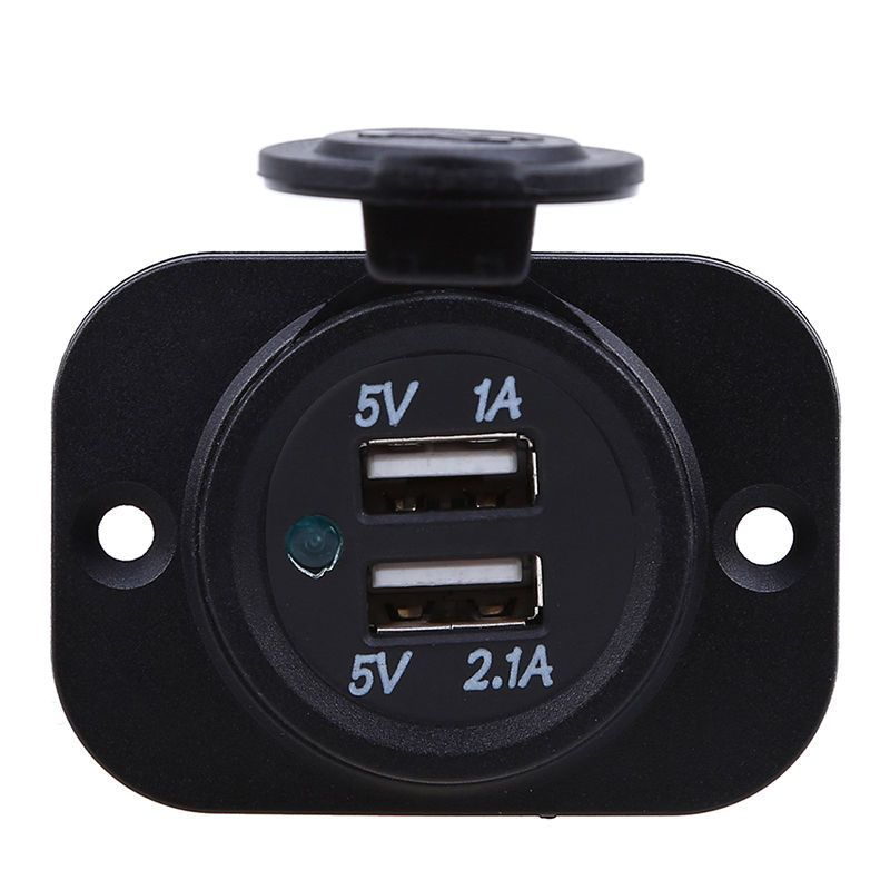 3 1a Waterproof Dual Usb Car Outlet Panel Mount Motorcycle Bus 12v Socket Charger Car Usb Dual Usb Usb