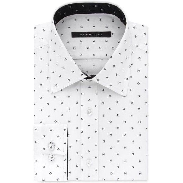 Sean John Men's Classic/Regular Fit Logo Print Dress Shirt ($41) ❤ liked on Polyvore featuring men's fashion, men's clothing, men's shirts, men's dress shirts, parchment, mens regular fit shirts and mens dress shirts