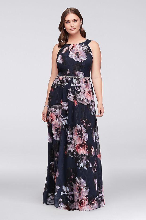 Floral Plus Size Halter Dress With Beaded Belt Davids Bridal