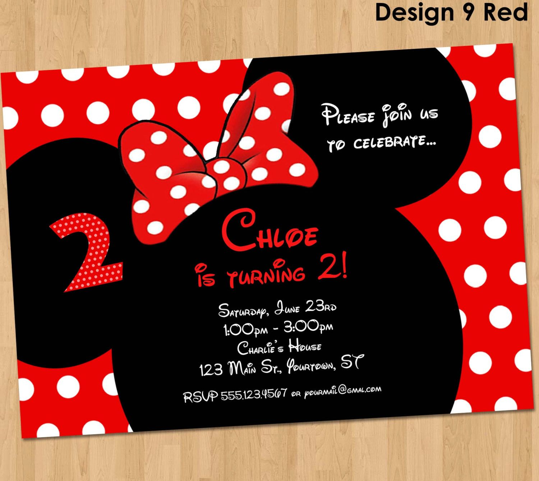 Minnie Mouse Invitation - Printable Birthday Party Custom ...