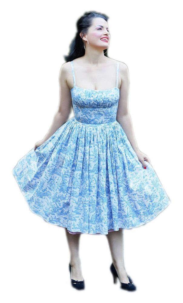 c45ad079cb2 Bernie Dexter PARIS BLUE TOILE Pin Up Dress Vintage style 50 s 1950 S   BernieDexter  TeaDress  Casual