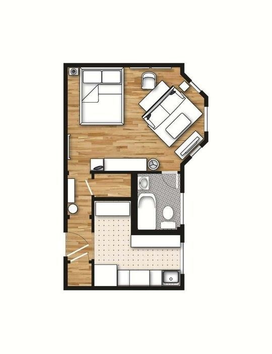 Cool for a back house/guest house ~ 400 sq. layout with a creative floor  plan. (actual studio apartment pictures on site)