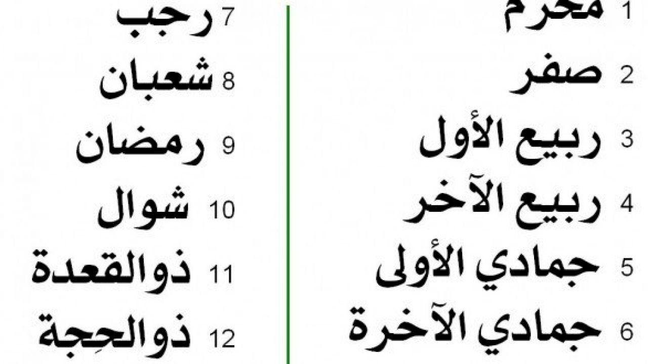 ترتيب شهور السنة الميلادية Math Calendar Calligraphy