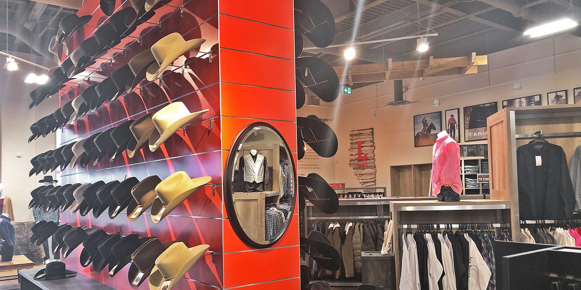 Lammle S Red Hat Slatwall Retail Fixtures Slat Wall Red Hats