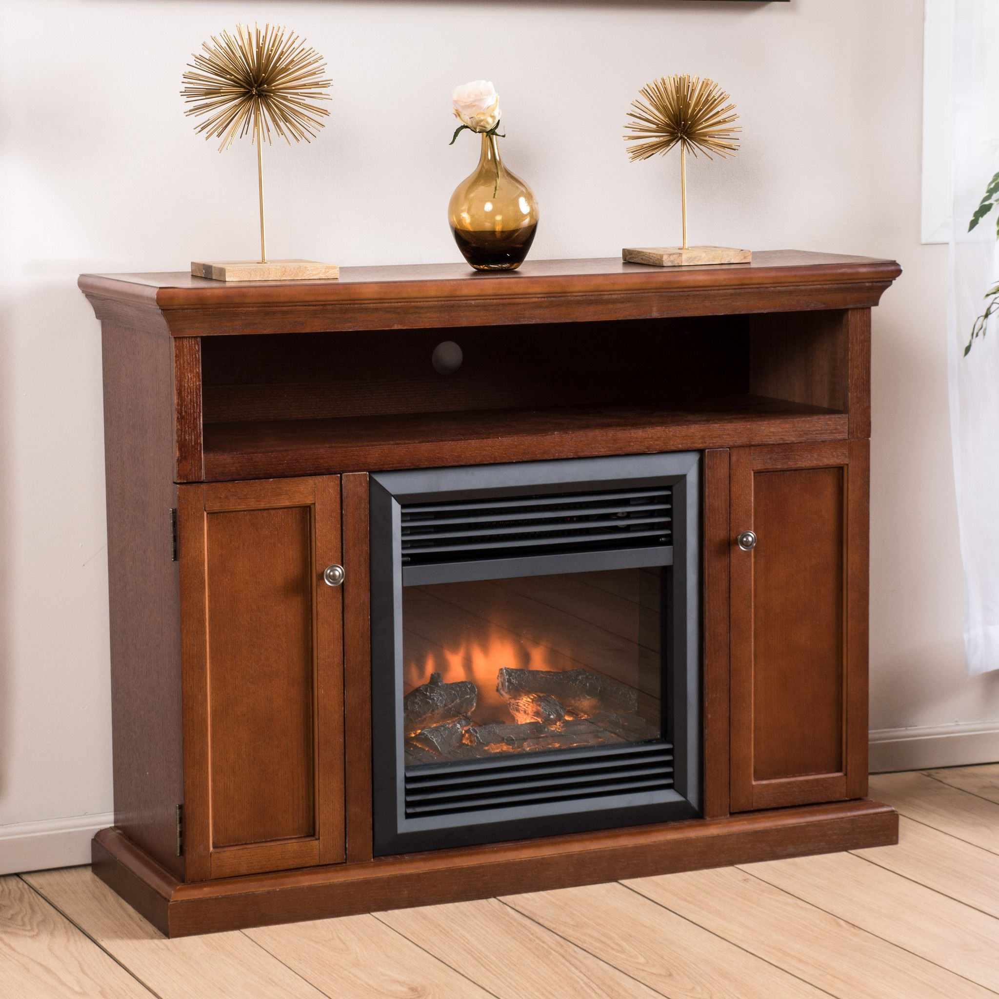 ferris electric fireplace media console mantel with remote control