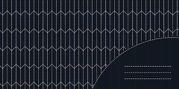 Monochrome sashiko motif with copy space for text. Japanese…