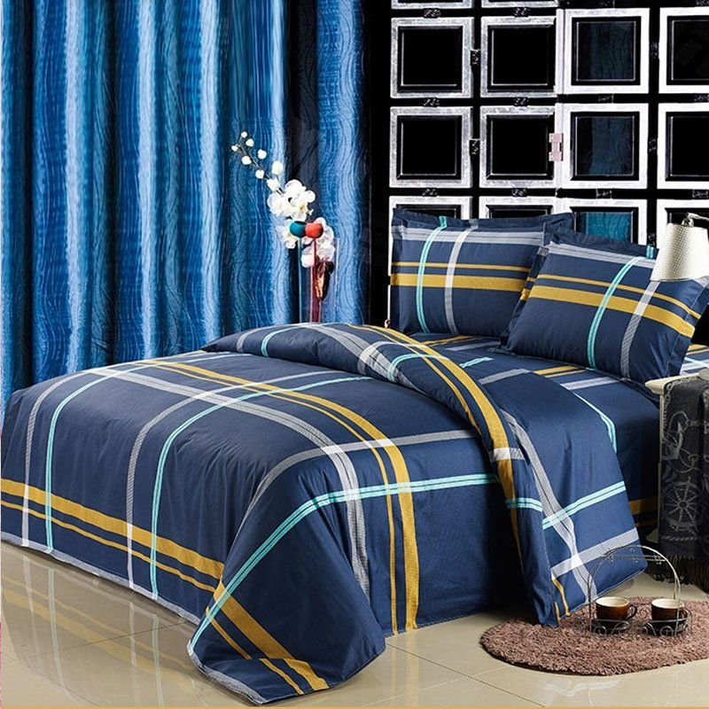 Simply Chic Navy Blue Gold And White Tartan Plaid Print Preppy Style Full Queen Size Luxury Cotton College Dorm Plaid Bedding Bedding Sets Dorm Bedding Sets