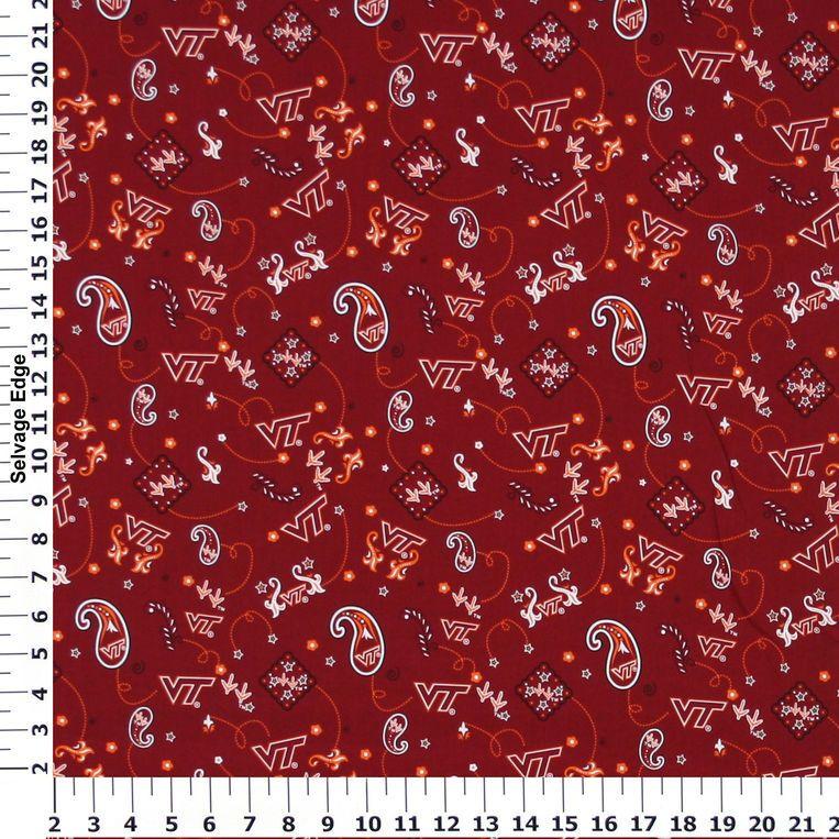 Virginia Tech Bandana Maroon Cotton Fabric Cotton fabric