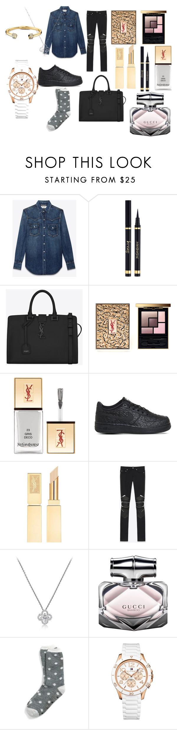 """Project 15"" by courts-rara on Polyvore featuring Yves Saint Laurent, NIKE, Gucci, Tommy Hilfiger, women's clothing, women, female, woman, misses and juniors"