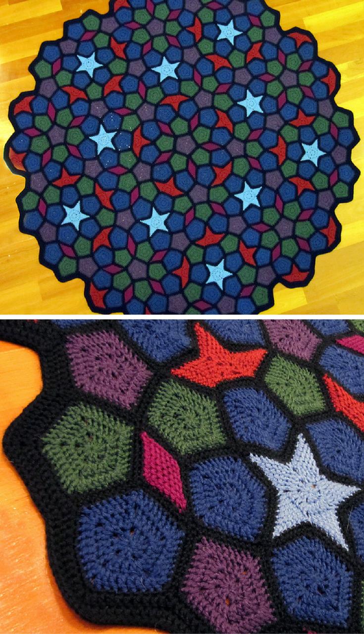 Free Crochet Pattern] This Pentagonal Penrose Throw Blanket Is ...