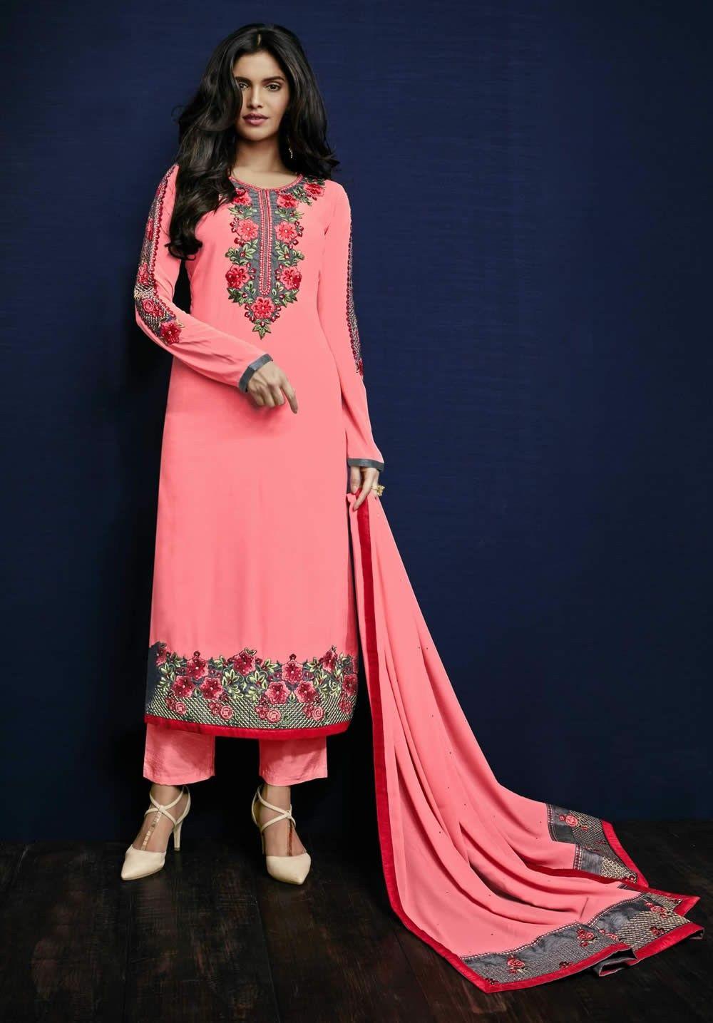 buy saree online Gajari Colour Georgette Embroidered Work Designer ...