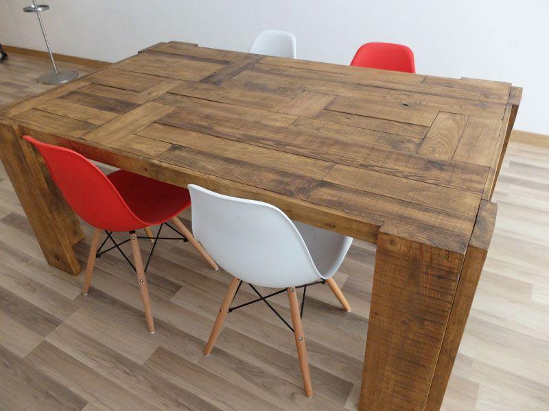 Mesa de madera de pino con sobre de retales #muebles #mesa #madera ...