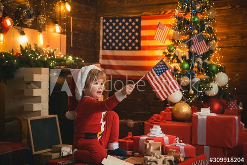 Happy Christmas kid with USA flags. Merry Christmas in America. Christmas with american flag background. Santa helper with american flag. , #Sponsored, #USA, #flags, #Merry, #Happy, #Christmas #Ad