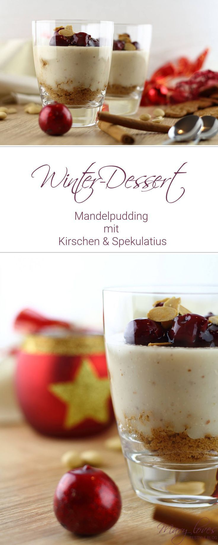 Almond pudding with cherries and speculaas -