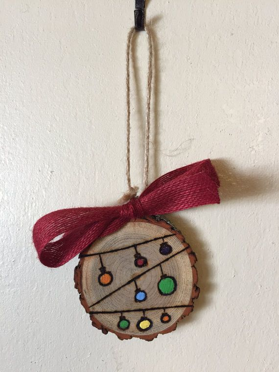 wood slice ornament string of ornaments by thechaoticpawprints quick saves pinterest. Black Bedroom Furniture Sets. Home Design Ideas