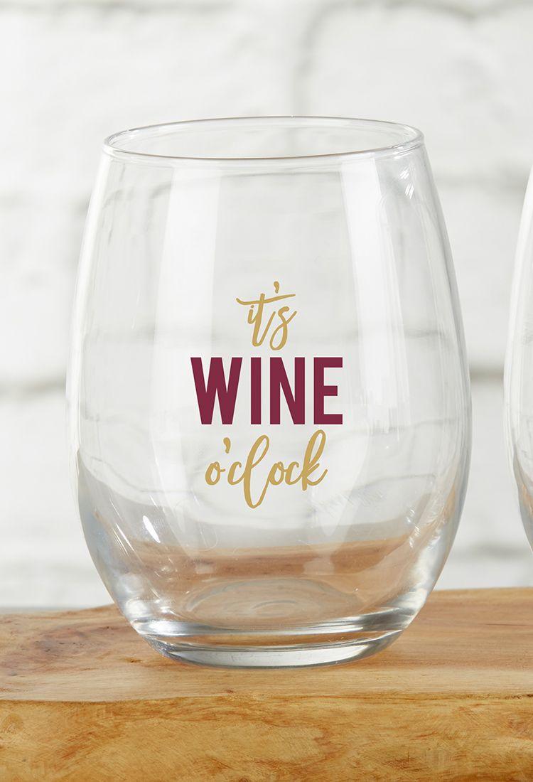 It\'s Wine O\'Clock 15 oz. Stemless Wine Glass (Set of 4) | Favors ...