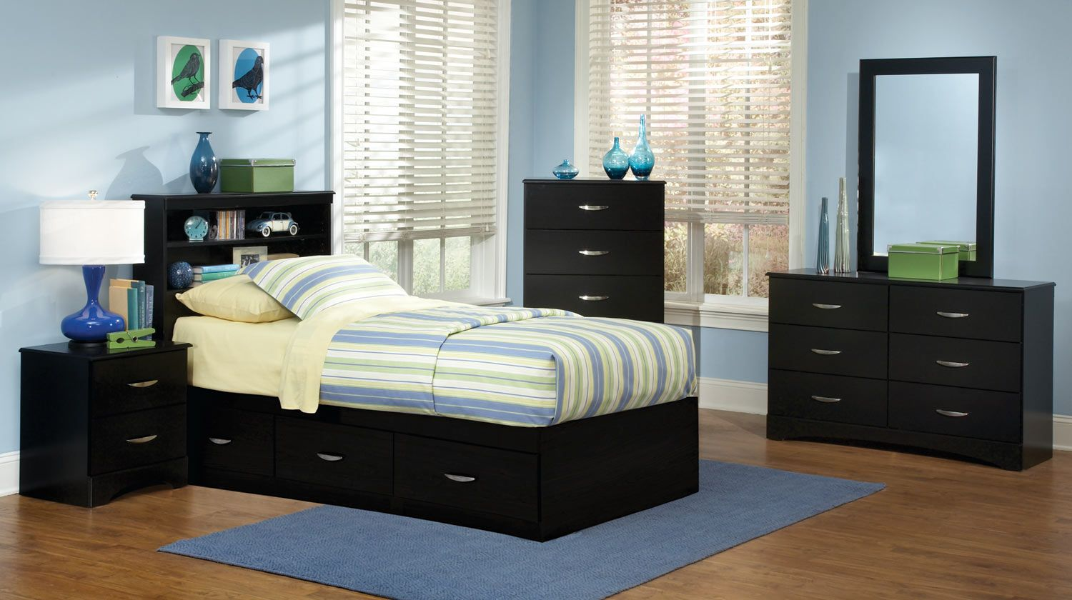Kith Furniture Jacob 3 Drawer Mates Bedroom Set - Contemporary styling Stipple black Finish Brushed chrome hardware Picture frame molding accents on the Headboard and mirror