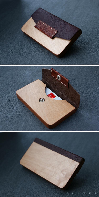 3a56b7bb0fd7c4 BLAZER LUXURY wood business cardholder for 15-20 business cards, leather  business card holder