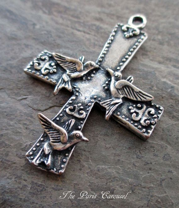 Large silver plated cross pendant with birds swallows sparrows doves art nouveau style rosary jewelry supply #rosaryjewelry