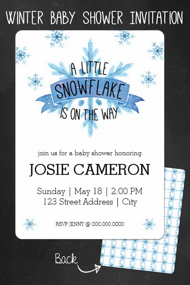 Little Snowflake Baby Shower Invitation. Perfect For A Winter Wonderland Baby  Shower Theme. Customize