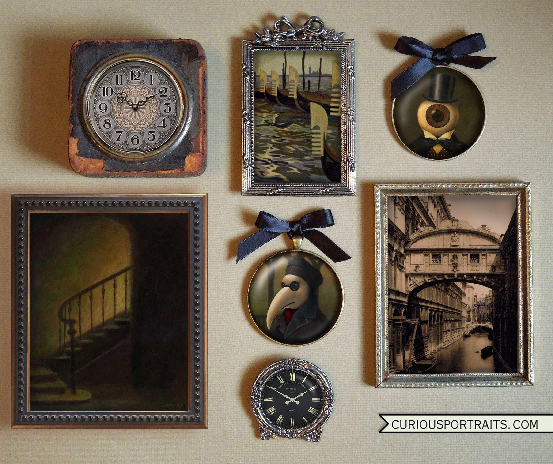 Christmas Ornament Wall Art Gothic Ornament Venetian Plague Doctor Miniature Gallery Wall Portrait Miniature