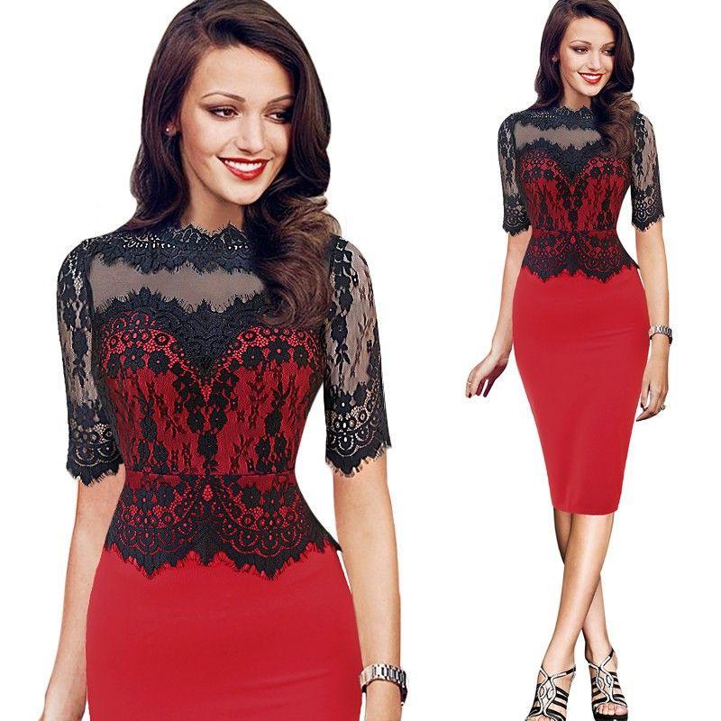 Plus Size New Lace Up Women Vestido De Renda Office Wear Dress For Party  Ladies Evening Pencil Dresses 5XL 8b670769fcf5