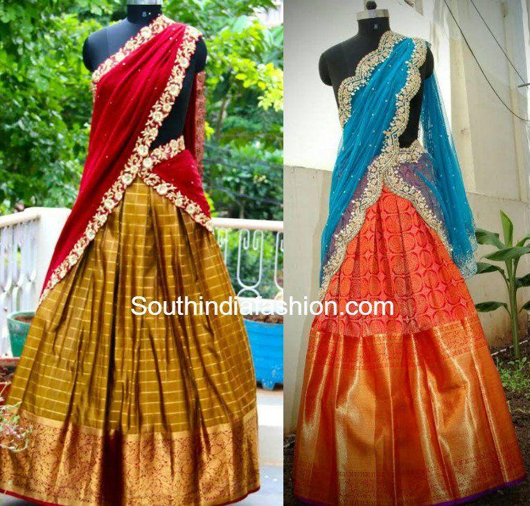 9e1341dc775d Heavy Border Kanjeevaram Bridal Half Sarees and Lehengas for weddings,  engagement and half saree ceremony, pattu lehengas