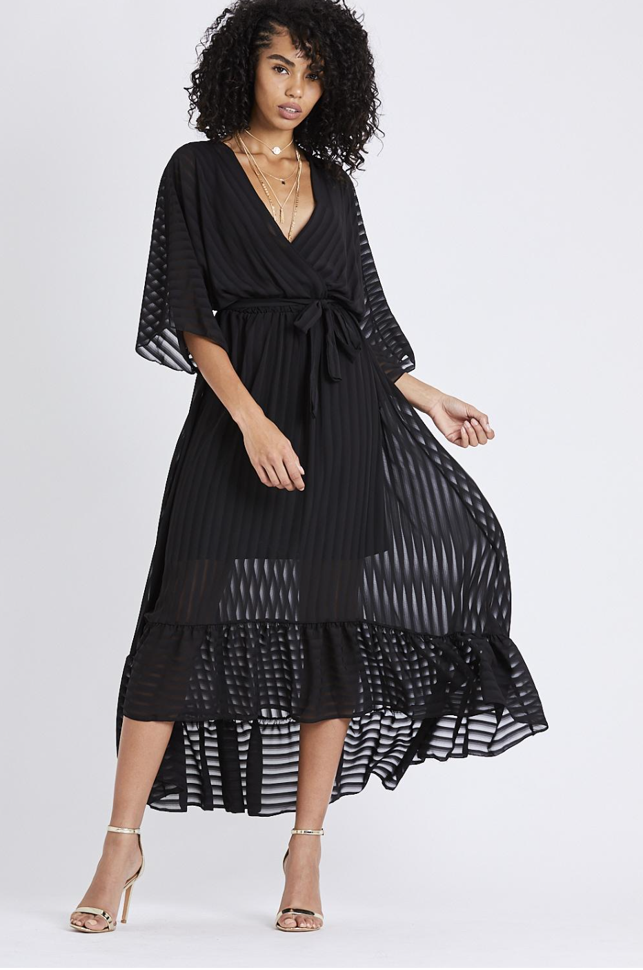 9e9829f9cb High Low Plunge Belted Maxi Dress - Black