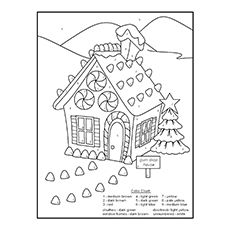 color by number coloring pages gingerbread house
